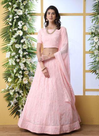 Pink Sequins Resham And Georgette Lehenga Choli