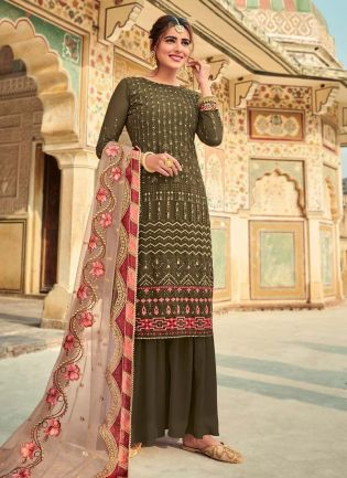 Green Color Georgette Fabric Sequins Work Sharara Salwar Kameez