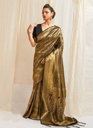 Glorious Look Black Color Silk Base Allover Silk Weave Work Designer Saree