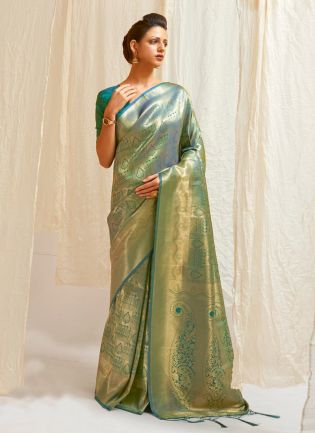 Classy Teal Green Color Wedding Wear Silk Weave Designer Saree