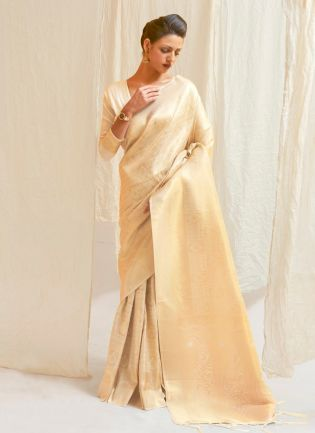 Off-White Color Silk Base With Silk Weaving Work Designer Saree With Same Color Blouse