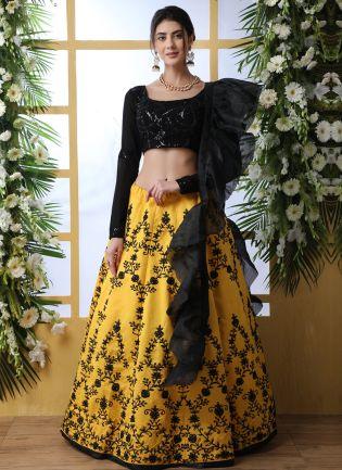 Sensational Black And Yellow Art Silk Base Designer Lehenga Choli