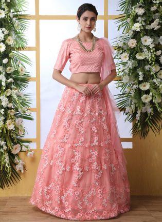 Sparkling Peach Pink Soft Net Bridesmaid Designer Flared Lehenga Choli
