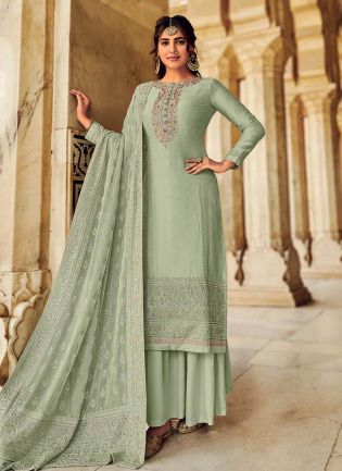 Charming Look Sea Green Color Art Silk Base Heavy Work Palazzo Suit