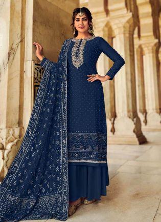 Navy Blue Color Art Silk Base Panjabi Style Designer Palazzo Suit