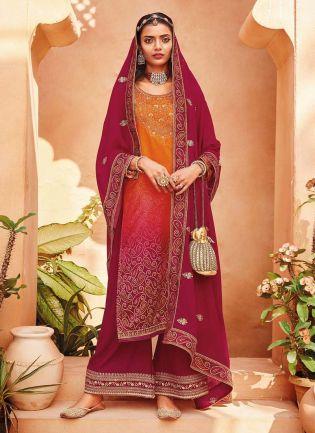 Crimson Red color Satin Base Stone Work Printed Palazzo Salwar Suit