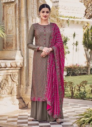 Dark Grey Color Art Silk Base Wedding Wear Pakistani Style Palazzo Suit
