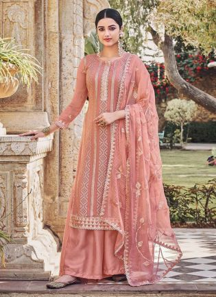 Glam Look Peach Color Heavy Work Base Wedding Wear Designer Palazzo Suit