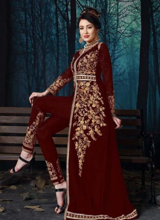 Georgette Base Maroon Color Zari Work Slit-Cut Pant Style Salwar Kameez
