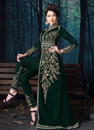 Dark Green Color Georgette Fabric Stone Work Pant Style Slit-Cut Salwar Suit