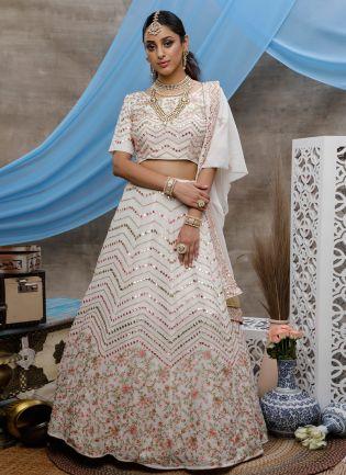 Fairylights White Foil Mirror Wedding Lehenga Choli