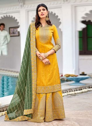 Canary Yellow Color Georgette Base Fully Worked Designer Sharara Suit