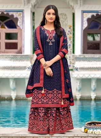 Glamorous Royal Blue Color Georgette Base Heavy Work Designer Sharara Suit
