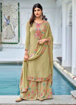 Classy Green Color Georgette Base With Heavy Work Designer Sharara Suit