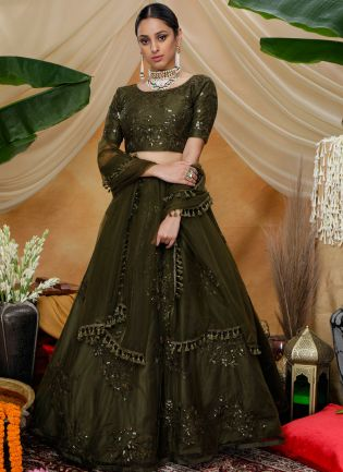 Green Resham and Sequins Soft Net Flared Lehenga Choli