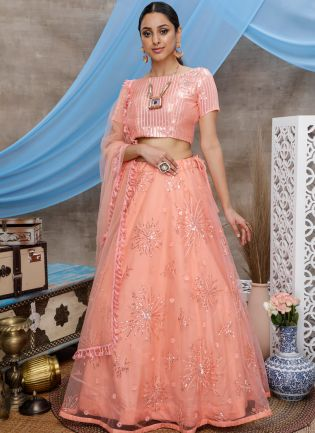 Orange Resham Handwork Sequins Soft Net Flared Lehenga Choli