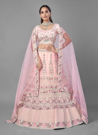 Attractive Pink Color Soft Net Base With Heavy Work Bridal Wear Lehenga Choli
