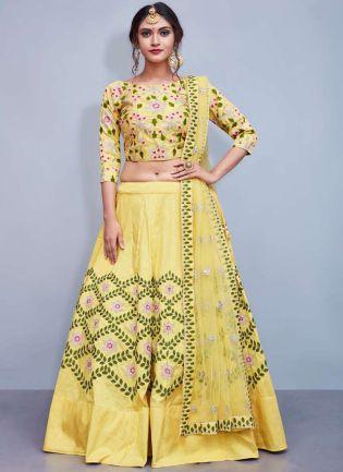 Yellow Aari Work Embroidered Wedding Wears Lehenga Choli
