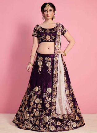 Purple Velvet Embroidered Lehenga Set With Beige Net Dupatta