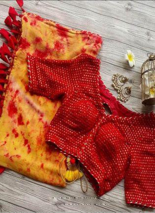 Scarlet Yellow Digital Print Sequins Georgette Saree