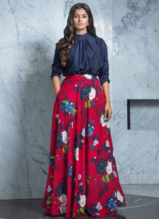Casual Maroon Floral Print Rayon Flared Lehenga Choli