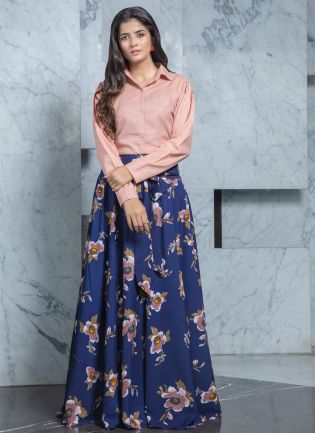 Floral Printed Indo-Western Cotton Flared Lehenga