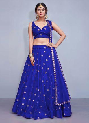 Delicate Blue Heavily Embellished Mirror Work Designer Lehenga Choli