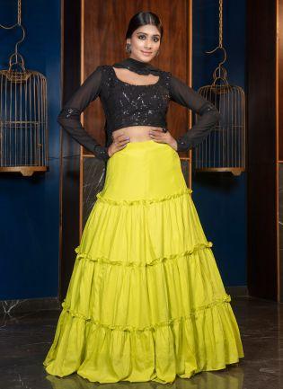 Sparkling Yellow Resham Print Silk Lehenga Choli Set