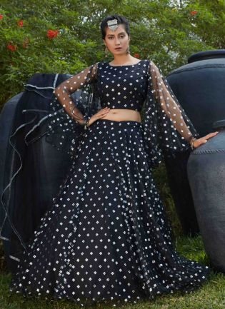 Magnificent Black Color Soft Net Base Lehenga Choli