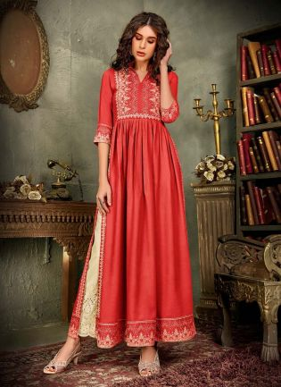 Charming Red Color Cotton Base Printed Palazzo Salwar Suit
