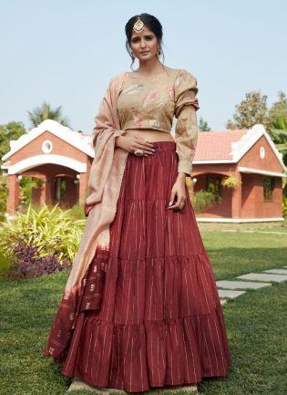 Maroon Color Cotton Base Flared Lehenga Choli