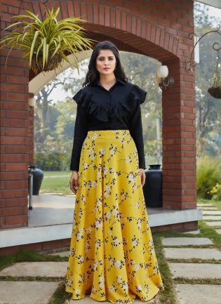 Yellow Color Digital Print Flared Lehenga Choli With Black Top