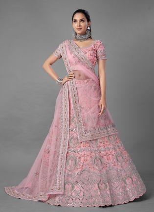 Glamorous Pink Color Soft Net Base With Wedding Wear Lehenga Choli
