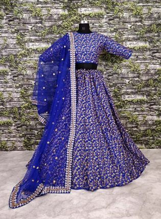 Vine Pattern Blue Lehnega Choli With Dupatta Set