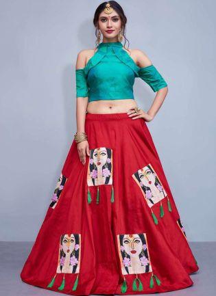 Sky Blue-Red Printed Tassels Decorated Lehenga Choli Skirt
