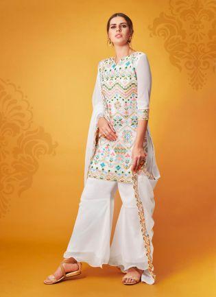 White Resham Georgette silk Causal Sharara Salwar Suit