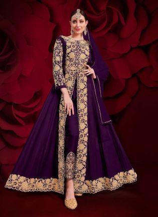 Georgette Fabric Purple Color Stone Work Slit-Cut Anarkali Suit