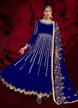 Mirror Work Medium Blue Color Georgette Fabric Slit-Cut Anarkali Suit