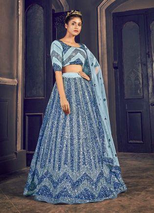 Admirable Grey Color Soft Net Fabric Sequins Work Lehenga Choli