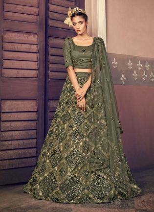 Amazing Olive Green Color Sequins Work Soft Net Fabric Lehenga Choli