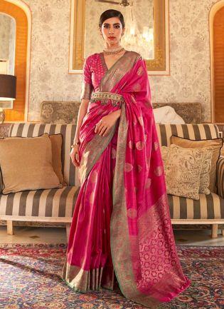 Fabulous Rani Pink Color Silk Weave Traditional Saree