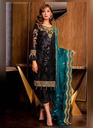 Lovely Black Color Pakistani Suit With Net Base