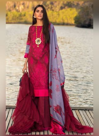 Alluring wine Color With Butterfly Net Base Salwar Kameez
