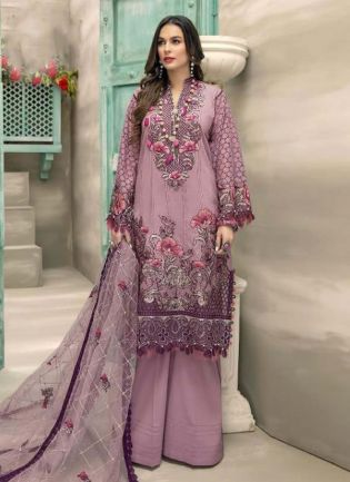 Purple Color Georgette Base Stone And Resham Work Pakistani Palazzo Salwar Suit