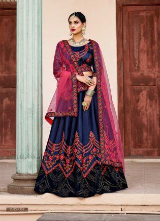 Elegant Navy Blue Colored Bridal Wear Lehenga Choli