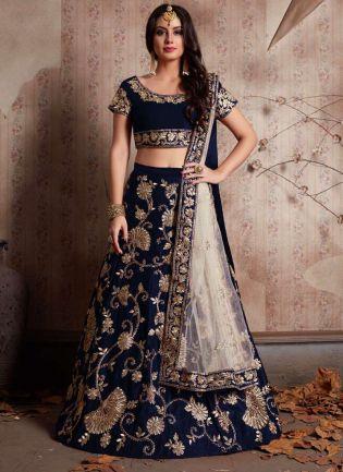 Midnight Blue Machine Embroidery Lehenga Choli With Sequins Embellished