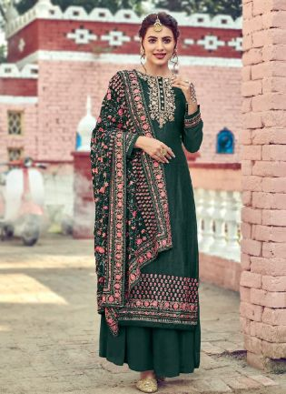 Excellent Green With Embroidery Work Palazzo Suit