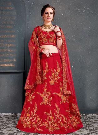 Marvelous Red Color With Silk Base Lehenga Choli