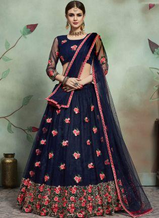 Inspiring Navy Blue Color Soft Net Base Thread And Embroidery Work Lehenga Choli