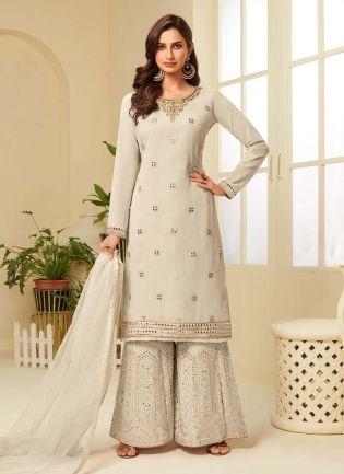 Elegant Off-White Color Georgette Base Palazzo Salwar Suit
